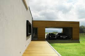 natural design of the garage interior design with wooden materials