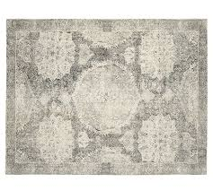 Wool Area Rugs Barret Printed Rug Gray Pottery Barn