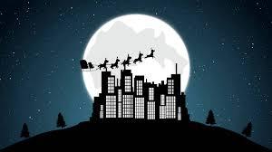 christmas flying santa sleigh reindeer u0027s over the buildings
