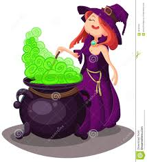 cute young witch for halloween cards vector clip art illustrati