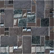 And Glass Tiles Wall Bathroom Backsplash Leaves Patterns Design - Crackle tile backsplash
