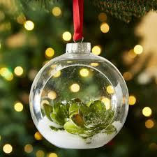 snowy succulent fillable ornament