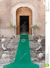 Pedestals Flowers Entrance Of A Church Decorated With Pedestals Of Flowers And A G