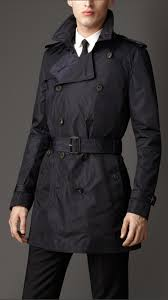 burberry midlength technical nylon trench coat in black for men lyst