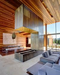 long open fireplace inside sams creek residence near living room