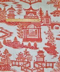 schumacher chinoiserie pagoda toile linen fabric salmon coral