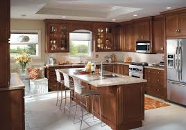 Kitchen Cabinet Design From Homecrest Cabinetry Includes An Eatin - Medium brown kitchen cabinets
