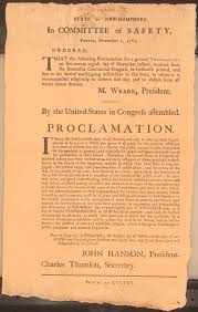 thanksgiving day proclamations 1789 present