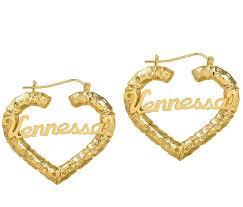 hoop earrings with name heart name bamboo hoop earrings be monogrammed