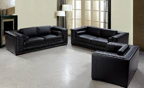 luxurious black leather sofa set