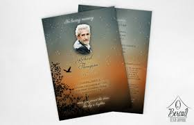 funeral program keepsake with sunset design printable
