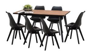 wyatt bruno dining table set with 6 black padded eames replica