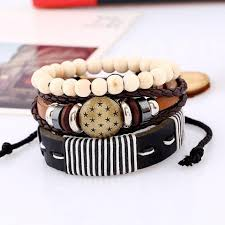 weave wrap bracelet images New fashion style leather bracelets wood beads weave wrap hemp rope br jpg