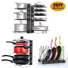 kitchen cabinet door pot and pan lid rack organizer lophome pan lid holder door pot storage rack wall or