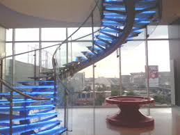 Steps Design by Awesome Sunroom Designs With Cool Round Blue Glass Staircase Over