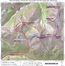 Map Of Colorado 14ers by Watrous Gulch Adventures Mountainous Words