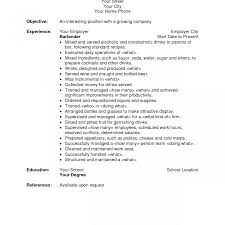 sle resume for bartending position mixologistesume awful exle certified cocktail professional