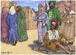 Blind Bartimaeus In The Bible Bible Cartoons Mark 10 Jesus Heals Blind Bartimaeus Scene 01