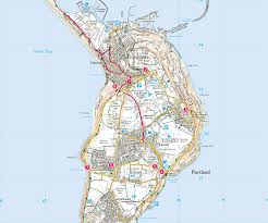 Map Of Portland by Portland Plateau Print Walk South West Coast Path
