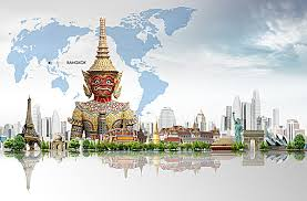 bangkok map tourist attractions world tourism attractions in bangkok thailand poster world map