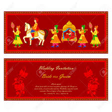vector illustration of indian wedding invitation card royalty free