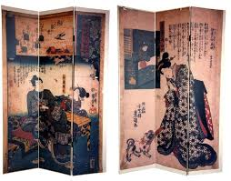 6 ft tall double sided japanese figures room divider asian