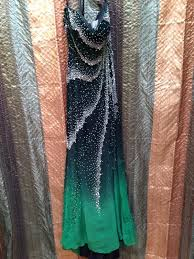 dress black to green ombré strapless dress dress with train
