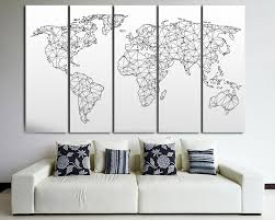 big world map etsy large abstract geometric map the world black and white canvas wall