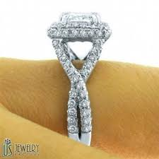 twisted band engagement ring 2 47 tcw f vs1 radiant cut halo engagement ring twist band