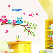 Owl Wall Sticker Cartoon Cute Happy Owl Family Diy Wall Sticke Wallpaper Stickers