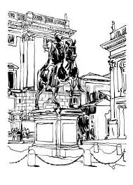 sketch digital drawing of rome italy cityscape sculpture