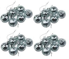silver mini disco mirror ball xmas tree bauble home party
