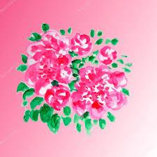 The Pink Peonies by Pink Peonies 0 Watercolor Illustration U2014 Stock Vector