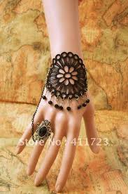 beaded ring bracelet images Gothic diy lace black bracelet wristband tassel beaded crystal jpg
