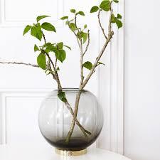 Large Round Glass Vase Aytm Globe Vase With Stand Grey Smoke Black Brass Large The