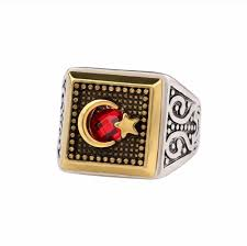 silver ring for men islam aantique silver gold color moon muslim ring with