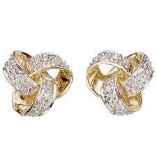 gold diamond earrings 9ct gold diamond open knot stud earrings h samuel