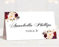 Table Card Template by Wedding Place Cards Place Card Template Editable Reserved
