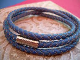 braided leather bracelet mens images Mens triple wrap blue braided leather bracelet stainless steel jpg