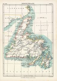 Map Home Decor Antique Map Of Newfoundland 1884 Vintage Map Home Decor Gift