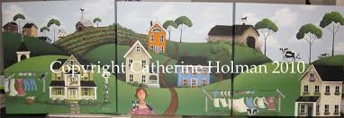 catherine holman folk art three folk art farm scenes create three folk art farm scenes create wallpaper border