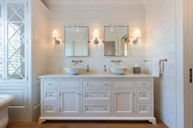 White Cottage Bathroom Vanity by Footed Dual Vanity With Marble Bowl Sinks Cottage Bathroom