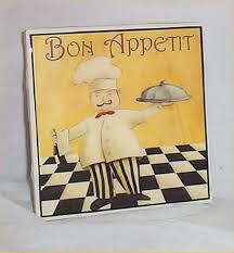 fat chef trivet ceramic tile bono appetit bistro waiter kitchen