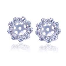 diamond earring jackets buy 14k white earring jackets with cut diamonds for 5mm studs