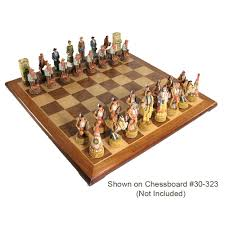 cowboys vs indians hand painted polystone chess pieces