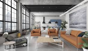 industrial modern design living room design tan leather couches factory windows industrial