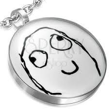 Happy Meme Face - round steel happy meme face pendant jewelry eshop