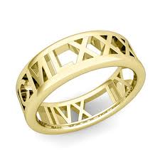 numeral ring custom legacy numeral wedding ring band in 18k gold 7mm
