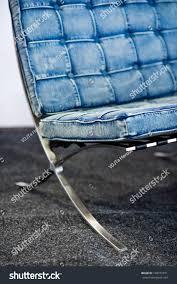 detail famous barcelona chair originally designed stock photo