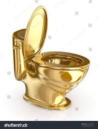 golden modern toilet lid open 3d stock illustration 437565286